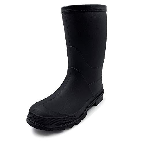 WBuffalo Boy Girl Rain Boot Rain Shoes Wellies Boot Rubber Boot Outdoor Garden Mid-Calf Waterproof Boot Children Child Kid Youth Junior Teen Black 1-1.5 M US Little Kid