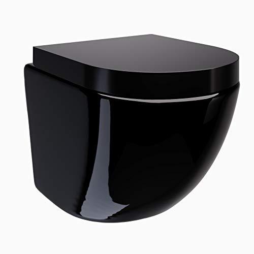 Redonde Design Hänge WC spülrandlos Toilette inkl. Duroplast WC Sitz mit Softclose Absenkautomatik + abnehmbar in schwarz