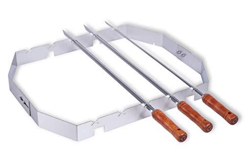 Moesta-BBQ 10249 – Churrasco BBQ Set für Smokin' PizzaRing – Bratspieß-Mangal-Aufsatz für Kugelgrill - 57cm Durchmesser