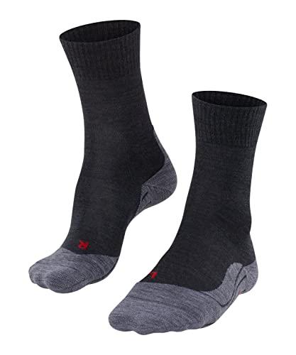 FALKE Damen Wandersocken TK5 - Wanderstrümpfe mit Merinowolle, Bergsocken für leichte Wanderschuhe, Socken mit leichter Polsterung, zum Wandern, 1 Paar, Grau (Asphalt Melange 3180), Größe: 37-38