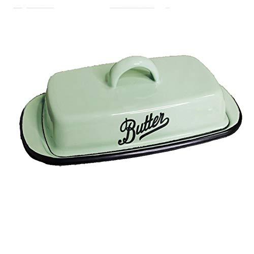 WANGZ Emaille Butterdose mit Deckel, Vintage Butterdos for Küche Lagerung,Butter frisch halten (Color : Lake Blue)