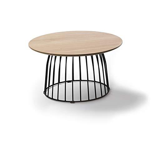 Générique salontafel, rond, 60 cm, van eikenhout en metalen poten, zwart emmeline – L 60 x B 60 x H 35 cm