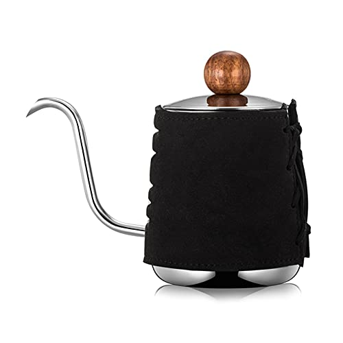 YONGLI Pour over Coffee Kettle Anti- Handleless Coffee Drip Kettle Leather Wrapped Coffee Maker with Gooseneck Spout Tea Pot 350ml (Color : B)
