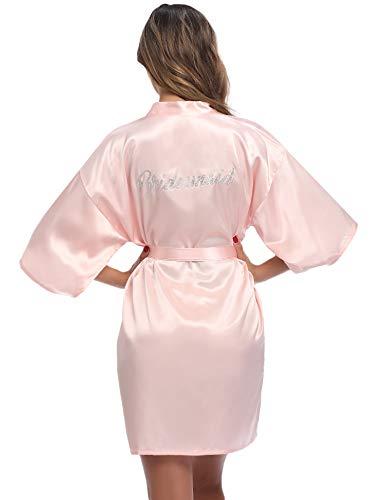 Aibrou Bata de Novia Corto Batas de Dama de Honor Kimono Mujer Sexy Batas de Satén Bata de Fiesta de Novia Albornoz