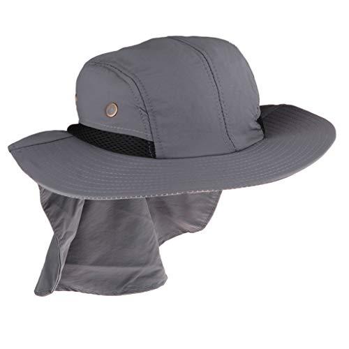 perfeclan Legionärskappe mit Nackenschutz Gesichtschutz Sonnenhut Herren UV Schutz Reitkappe - Grau