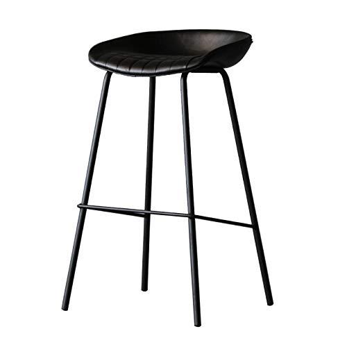 Einfacher Pu Leder Barhocker Home Rückenloser Küchenhochstuhl mit Fußstütze Schmiedeeisen Theke Coffee Shop Casual Office Seat Chair H: 75cm schwarz