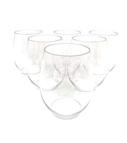 48 piece Stemless Unbreakable Crystal Clear Plastic Wine Glasses Set of 48 (10 Ounces)