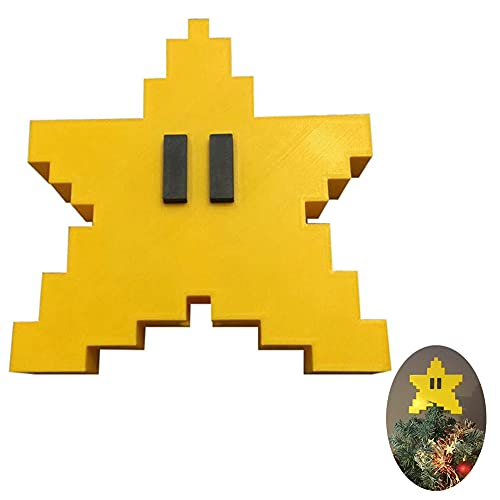 Star Tree Topper for Christmas,Retro Super Mario Star Unique Design 3D Pixel Style ,Rustic high-end Outdoor Decoration,Funny Christmas Tree Toppers-Yellow