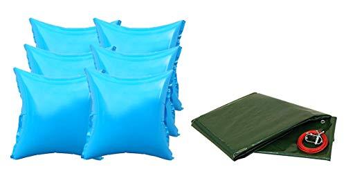 well2wellness® Pool Abdeckplane mit 180g/m² für Rundbecken 350-360cm Plus 6 Pool Luftkissen mit neuem Ventil