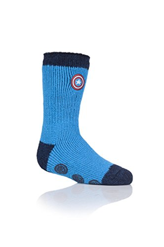 HEAT HOLDERS Kinder 1 Paar SockShop Slippersocken Marvel's Captain America Schild - Blau 27-31 Kinder