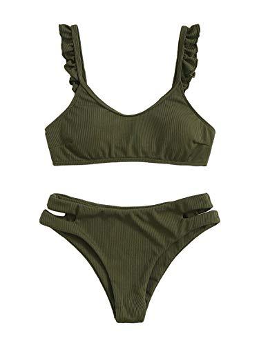 SweatyRocks Women's Bathing Suits Spaghetti Strap Ruffle Cut Out Bikini Set Two Piece Swimsuits Army Green M