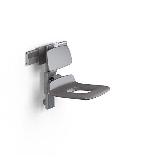 Pressalit verstellbarer Duschstuhl mit Pflegeöffnung und Rückenlehne - max. 300 kg, Farbe:Anthrazitgrau