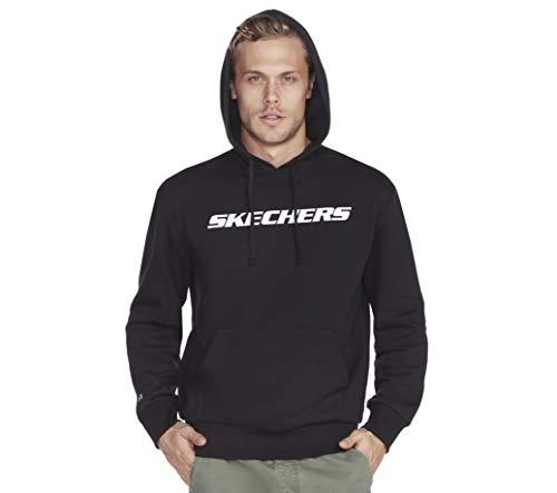 Skechers Men's Heritage Pullover Hoodie Sweatshirt, Black, XXL
