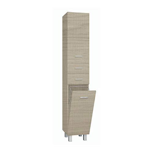 VAROBATH Mueble de Baño Auxiliar Columna con Patas - 1 Repisa + 2 cajones + 2 Puertas - Cierre Suave Amortiguado - con cesto - Mueble MONTADO (30x170x32, Taiga)