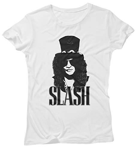 LaMAGLIERIA T-Shirt Donna Slash Rock Icon - Maglietta 100% Cotone Guns n' Roses Rock Band, M, Bianco