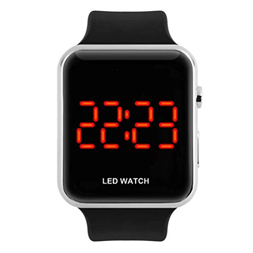 Unisex Square Large Face LED Digital Watch Electronic for Men Watch for Women Student Silicone Watches (Silver)