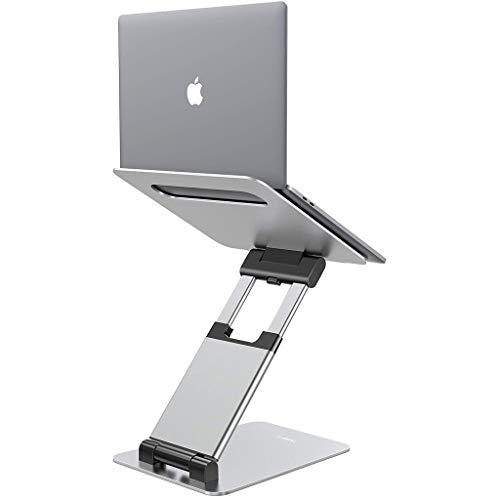 ZHAN YI SHOP Laptop Stand, Ergonomic Sit To Stand Laptop Holder Convertor, Adjustable Height From 2.1' To 13.8', Compatible With MacBook, All Laptops Tablets 10-17' - Silver