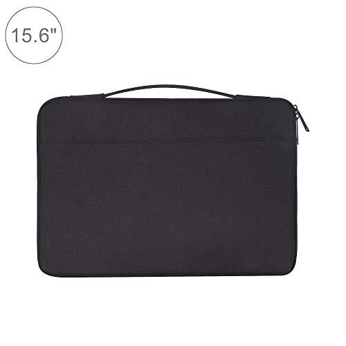 Wakaa 15,6 Zoll Mode lässig Polyester + Nylon Laptop Handtasche Aktentasche Notebook Abdeckung case, for MacBook, Samsung, Lenovo, xiaomi, Sony, Dell, chuwi, asus, hp (schwarz) (Farbe : Black)