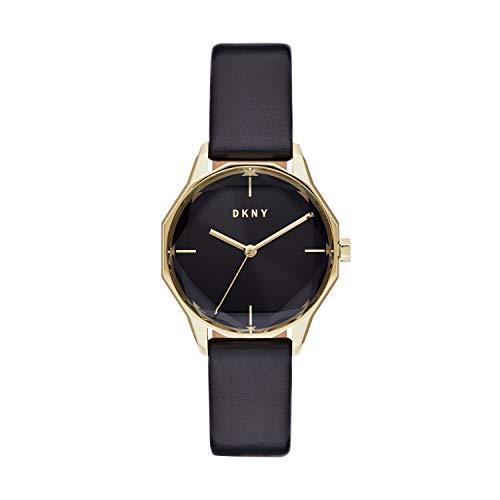 DKNY Cityspire NY2796 - Reloj de cuarzo con esfera negra y cuero para mujer