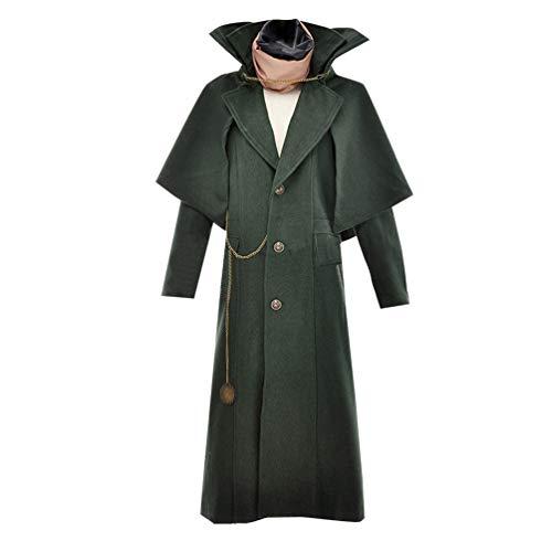 AGLAYOUPIN Adult Mens Gothic Jacket Steampunk Victorian Long Coat Costume Halloween Green