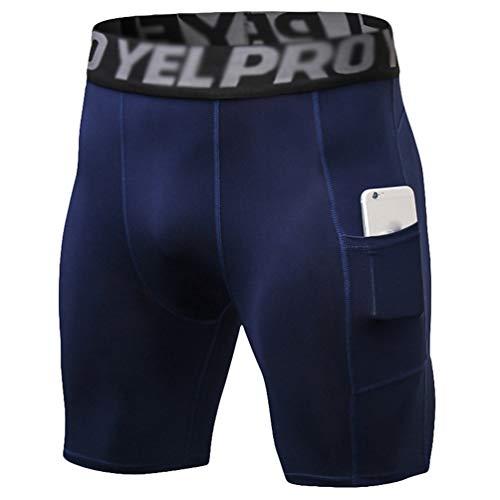 QitunC Mallas Running Hombre Pantalones Cortos de Compresión de Secado Rápido con Bolsillo y Transpirables para Deporte, Fitness, Gym (Armada, L)