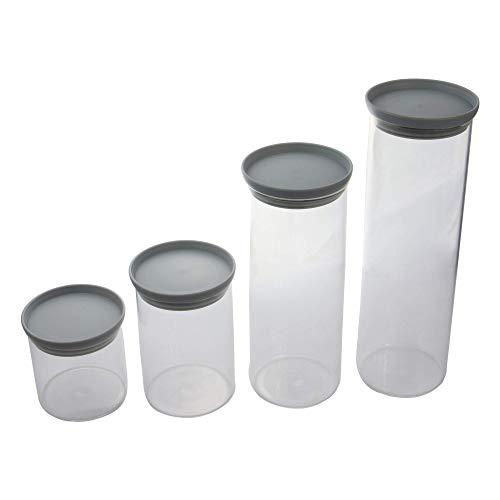 Juego de 4 frascos de vidrio con tapas de plástico | Almacenamiento hermético de alimentos | Contenedores de comida apilables | Almacenamiento de cocina | M & W