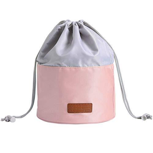 LIVACASA Kulturtasche Rund Damen Kosmetiktasche Wasserdicht Kulturbeutel für MädchenWaschtasche mit Kordelzug Make-up-Tasche Toiletry Bag Toilettentasche Zu Hause Wandern Reise Urlaub Rosa
