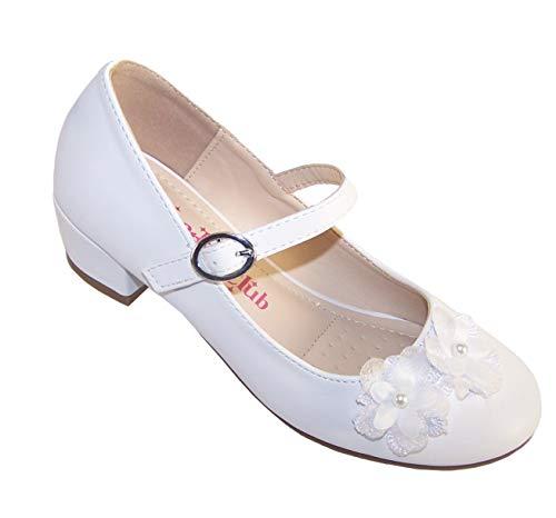 Niñas Niños Blanco Tacón Bajo Zapatos Ocasión Especial, color Blanco, talla 31...