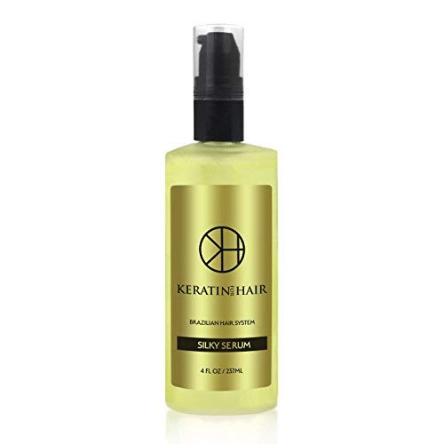 Keratin For Hair Silky Serum Anti Frizz Vitamin Silicone Protect against Flat Irons Hot Blow Dry Flat Iron Straightening 120 ml 4 fl oz