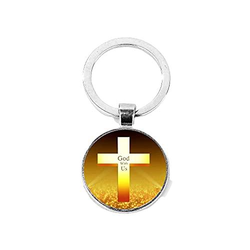 Moda Religioso Dios con nosotros Llavero Cruz de Oro I Love Jesús Llavero Anillos para Hombres Mujeres Cristianismo Joyería Fe