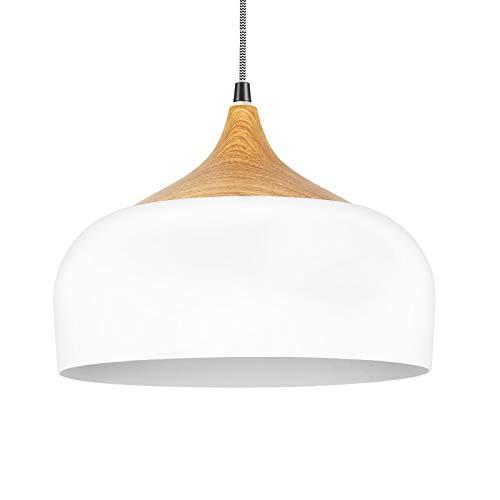 Combuh Lámpara colgante Lámpara colgante de madera redonda blanca de 30,5 cm Lámpara de techo con enchufe E27 Lámparas de techo industriales regulables en altura para comedor Dormitorio Cocina