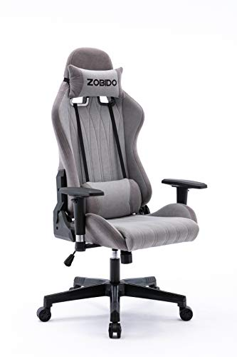 ZOBIDO Gaming Chair Office Comfy Chair High Back Computer Chair tapa PC Racing Executive Ergonomic Adjustable Swivel Task Chair with Headrest and Pillow Pouch, Esports Chair (Grey)
