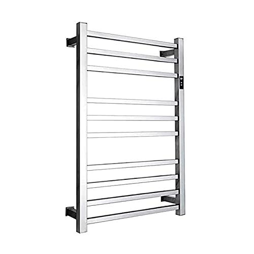 Toallero eléctrico para baño, montado en la pared, 10 barras de acero inoxidable pulido calentador de toallas, estante de secado con temporizador, estante calentador de toalla con cable
