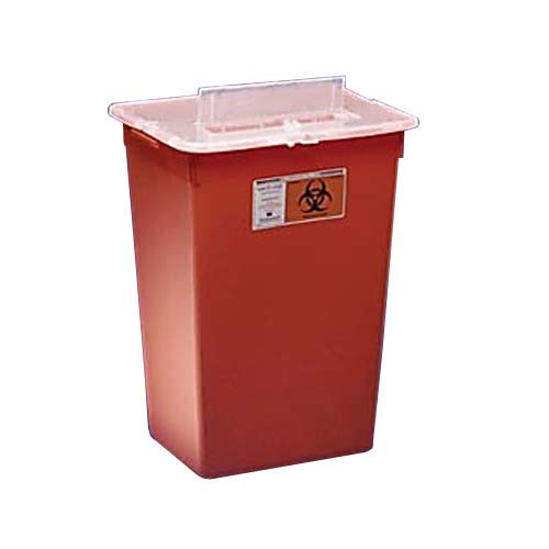 Kendall 31156550 Sharps-A-Gator General Purpose Large Volume Sharps Disposal Biohazard Waste Container, 7 Gallon Capacity, Red (Case of 10)