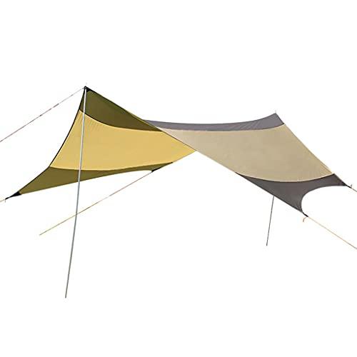 YS&VV Exterior Vela de Sombra 5,5 * 5,6 M Toldo Grande,Impermeable Protector Solar Pérgola Sombrilla Carpa para Camping con Poste de Dosel Camel
