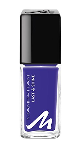 Manhattan Last & Shine Nagellack – Königsblauer, glänzender Nail Polish für 10 Tage perfekten Halt – Farbe Magnetic Blue 875 – 1 x 10ml