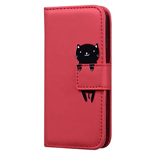 Karomenic PU Leder Hülle kompatibel mit Samsung Galaxy A20e Karikatur Katze Handyhülle Brieftasche Silikon Bookstyle Schutzhülle Klapphülle Ledertasche Ständer Wallet Flip Case Schale Etui,Rot