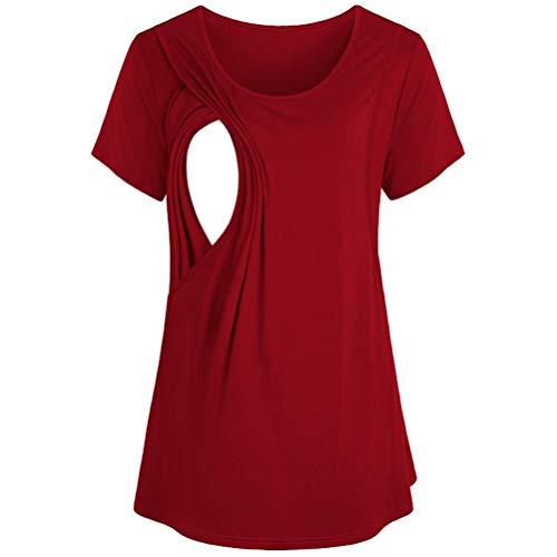 LISTHA Maternity Nursing Blouse Women Breastfeeding T Shirt Short Sleeve Tops Red