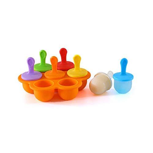 Mini huevo de silicona con forma de 7 cavidades, recipiente para alimentos para bebés, recipiente para cubitos de hielo para la cocina en casa, para mini hielo, chocolate, caramelos