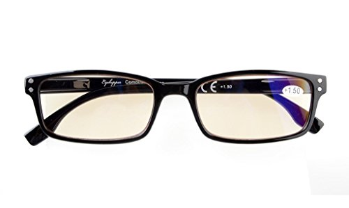 Blue Light Filter Glasses Men Women Reading Computer UV Protection Eyeglasses(Black)without Strength