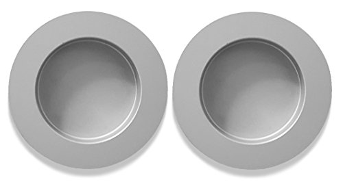 Preisvergleich Produktbild inova Griffmuschel Griff 2er Set Aluminium Silber 60mm Zubehör Tür Schiebetür selbstklebend
