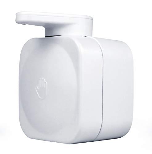 MASMAS Dispensador de Jabón Líquido de Pared Cuadrado,Accesorios de Baño Blanco Jabonera Gel de Ducha Fuerte Succión,Arreglar con Ventosa Fuerte