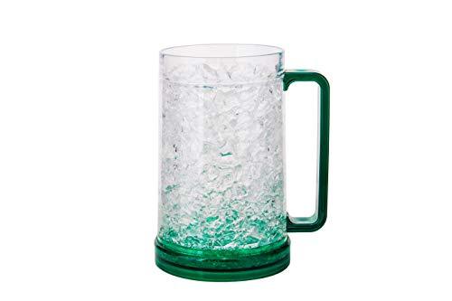 Freezer Mug 16oz  Beer Mug for Freezer  Freezer Mug with Gel  Beer Freezer Mug  Frosted Mugs for Freezer  Frosty Mug for Beer  Double Wall Gel Frosty Freezer Mug  Green