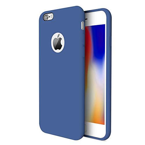 TBOC Funda para Apple iPhone 8 [4.7'] - Carcasa Rígida [Azul] Silicona Líquida Premium [Tacto Suave] Forro Interior Microfibra [Protege la Cámara] Antideslizante Resistente Suciedad
