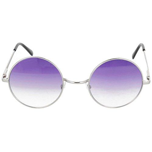 Runde Sonnenbrille Lila Gläser mit 400UV Schutz - Silber Brillengestell verspiegelte halbgetönte Brillengläser - John Lennon Ozzy Osbourne Flower Power Hippie Fasching Karneval 60er 70er Brille (1 Brille)