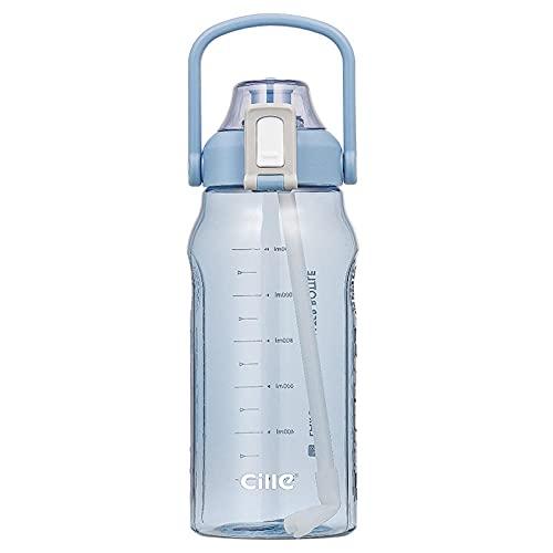 Kalami Botella de agua con sello de tiempo, a prueba de fugas, con indicador de tiempo, para fitness y deporte, con rastreador de agua con pajita