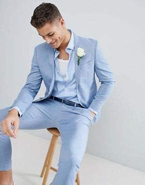 GFRBJK Azul Claro Trajes de Hombre Slim Fit Novio Vestido de ...