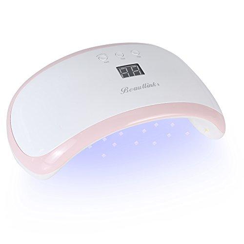 LED UV Lampe für Nägel, Beaulinks 36 W Nageltrockner Lichthärtungsgerät mit 21 LEDs 3 Timer Infrarot Sensor LCD-Display Abnehmbarer Magnet-Platte Geeignet für alle Gel (Rosa)