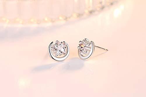 SALAN Pendientes De Botón De Plata De Ley 925, Joyería De Moda para Mujer, Pendientes De Circonita De Cristal con Estrella Y Luna Simples Retro