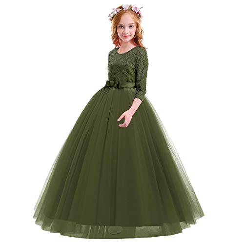 Child Girls Flower Vintage Floral Lace 3/4 Sleeves Floor Length Dress Tulle Wedding Birthday Party Evening Formal Prom Dresses Summer A Line Pegeant Long Maxi Dance Ball Gown Army Green 9-10